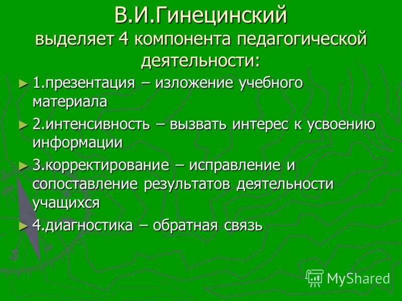 В.И.Гинецинский выделяет 4 компонента педагогической деятельности: 1.презентация – изложение учебного материала 1.презентация – изложение учебного материала 2.интенсивность – вызвать интерес к усвоению информации 2.интенсивность – вызвать интерес к у