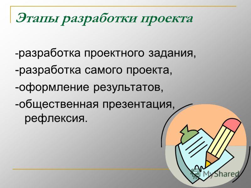 Этапы разработки проекта - разработка проектного задания, -разработка самого проекта, -оформление результатов, -общественная презентация, рефлексия.