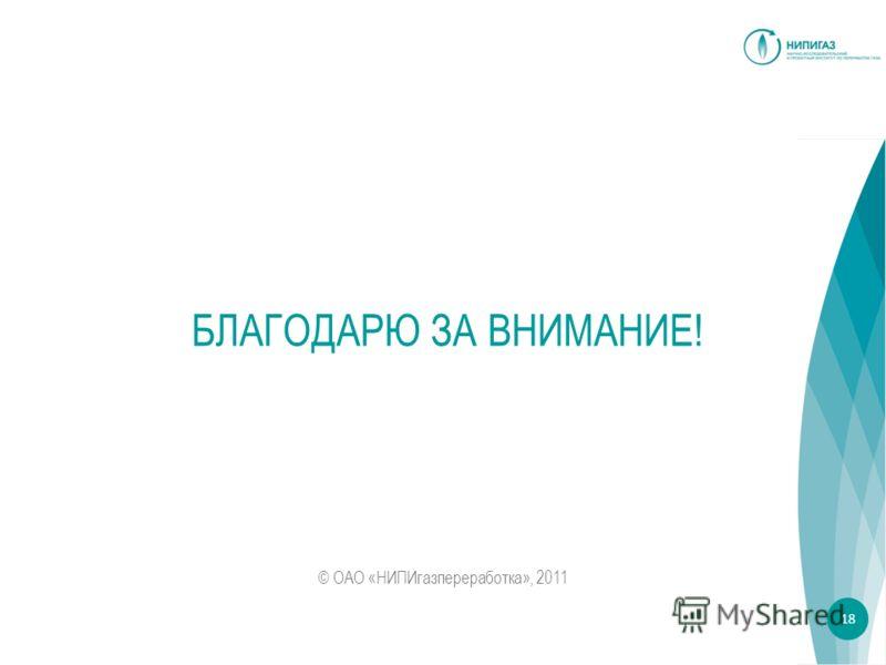 БЛАГОДАРЮ ЗА ВНИМАНИЕ! © ОАО «НИПИгазпереработка», 2011 18