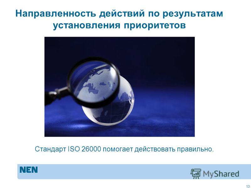 MVO in de praktijk: ISO 2600013 Направленность действий по результатам установления приоритетов Стандарт ISO 26000 помогает действовать правильно. 13