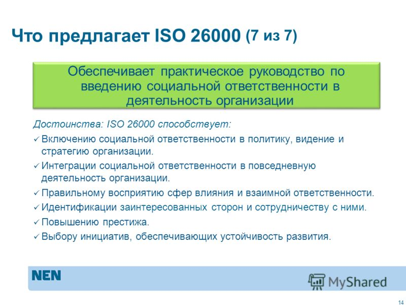 MVO in de praktijk: ISO 2600014 Достоинства: ISO 26000 способствует: Включению социальной ответственности в политику, видение и стратегию организации. Интеграции социальной ответственности в повседневную деятельность организации. Правильному восприят