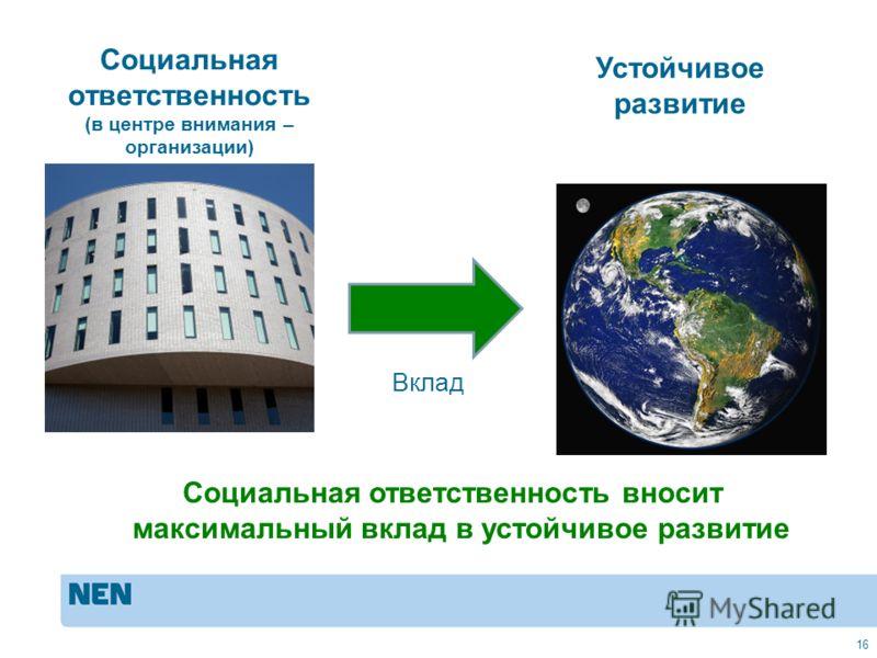 MVO in de praktijk: ISO 2600016 Социальная ответственность (в центре внимания – организации) Устойчивое развитие Вклад Социальная ответственность вносит максимальный вклад в устойчивое развитие 16