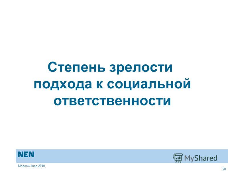 Moscow June 2010 20 Степень зрелости подхода к социальной ответственности