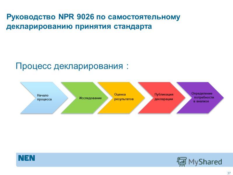 37 Начало процесса Исследование Оценка результатов Публикация декларации Определение потребности в анализе Процесс декларирования : Руководство NPR 9026 по самостоятельному декларированию принятия стандарта