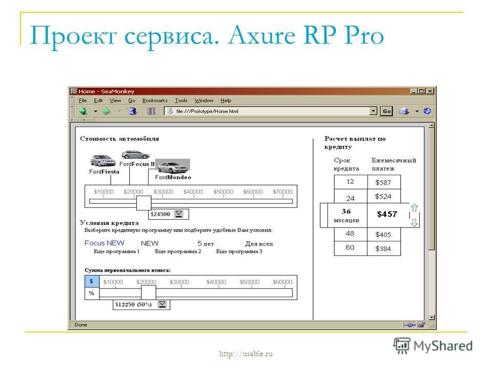 Проект сервиса. Axure RP Pro