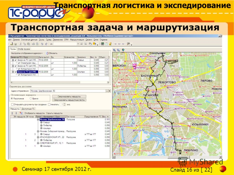 Транспортная логистика и экспедирование Слайд 16 из [ 22] Семинар 17 сентября 2012 г. Транспортная задача и маршрутизация