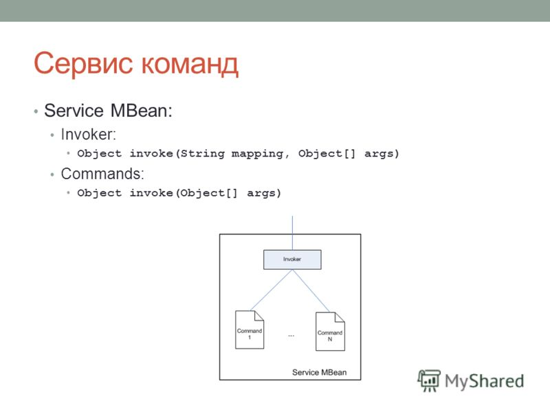Сервис команд Service MBean: Invoker: Object invoke(String mapping, Object[] args) Commands: Object invoke(Object[] args)