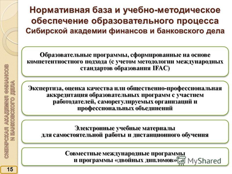 1515 Нормативная база и учебно-методическое обеспечение образовательного процесса Сибирской академии финансов и банковского дела