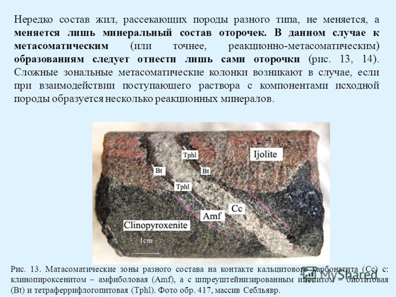 Нередко состав жил, рассекающих породы разного типа, не меняется, а меняется лишь минеральный состав оторочек. В данном случае к метасоматическим (или точнее, реакционно-метасоматическим) образованиям следует отнести лишь сами оторочки (рис. 13, 14).
