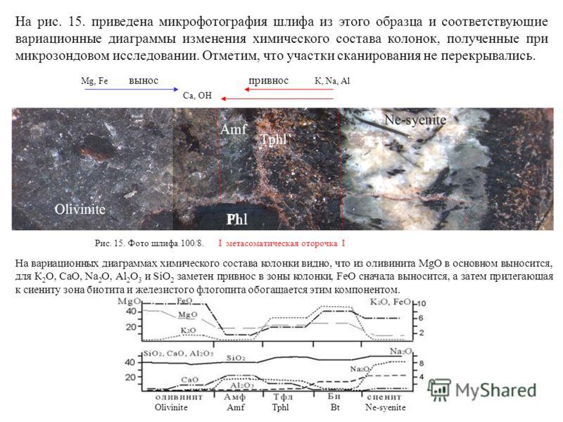 На рис. 15. приведена микрофотография шлифа из этого образца и соответствующие вариационные диаграммы изменения химического состава колонок, полученные при микрозондовом исследовании. Отметим, что участки сканирования не перекрывались. Mg, Fe вынос п