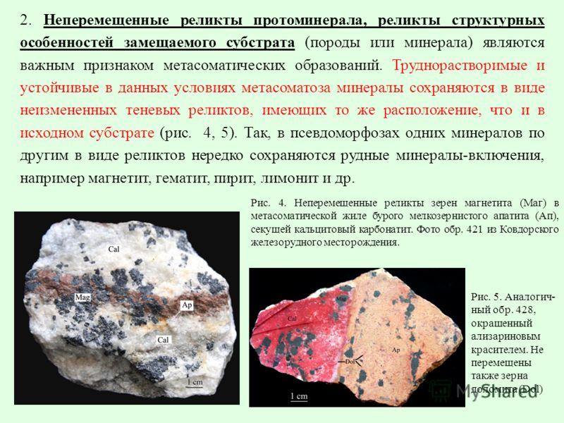 2. Неперемещенные реликты протоминерала, реликты структурных особенностей замещаемого субстрата (породы или минерала) являются важным признаком метасоматических образований. Труднорастворимые и устойчивые в данных условиях метасоматоза минералы сохра