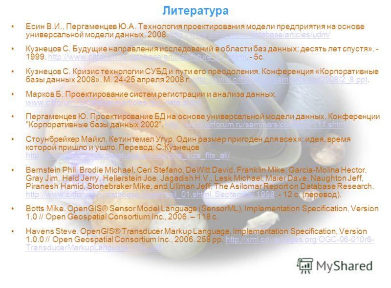 Литература Есин В.И., Пергаменцев Ю.А. Технология проектирования модели предприятия на основе универсальной модели данных. 2008. http://www.citforum.ru/database/articles/udm/http://www.citforum.ru/database/articles/udm/ Кузнецов С. Будущие направлени
