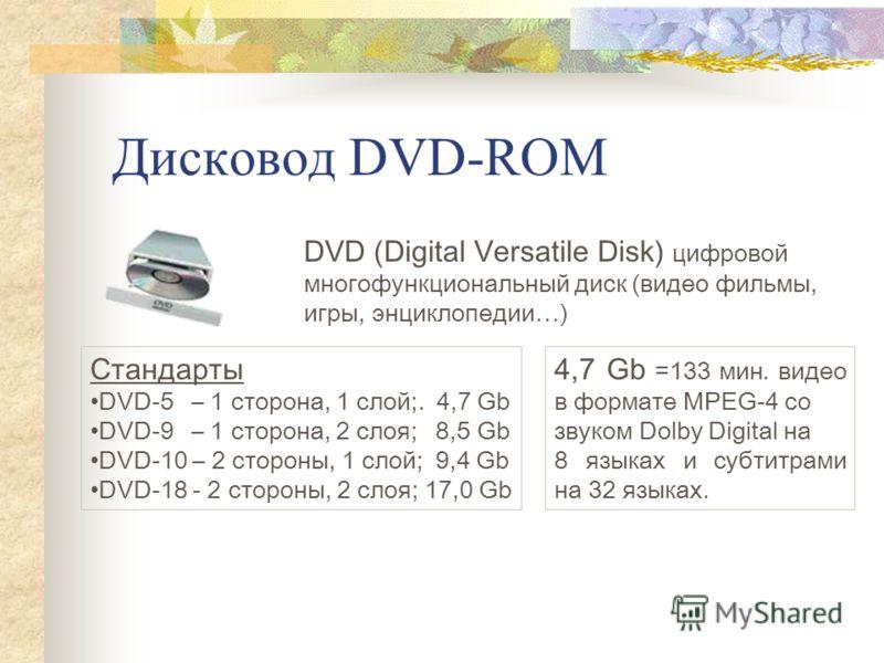 Дисковод DVD-ROM DVD (Digital Versatile Disk) цифровой многофункциональный диск (видео фильмы, игры, энциклопедии…) Стандарты DVD-5 – 1 сторона, 1 слой;. 4,7 Gb DVD-9 – 1 сторона, 2 слоя; 8,5 Gb DVD-10 – 2 стороны, 1 слой; 9,4 Gb DVD-18 - 2 стороны,