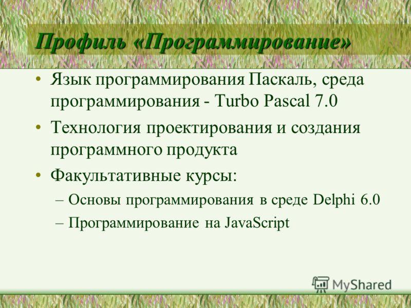 Профиль «Программирование» Язык программирования Паскаль, среда программирования - Turbo Pascal 7.0 Технология проектирования и создания программного продукта Факультативные курсы: –Основы программирования в среде Delphi 6.0 –Программирование на Java