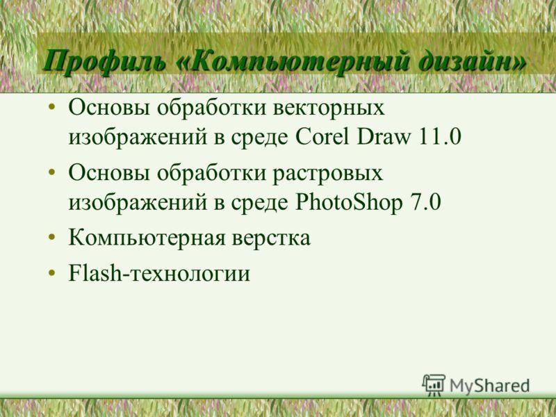 Профиль «Компьютерный дизайн» Основы обработки векторных изображений в среде Corel Draw 11.0 Основы обработки растровых изображений в среде PhotoShop 7.0 Компьютерная верстка Flash-технологии