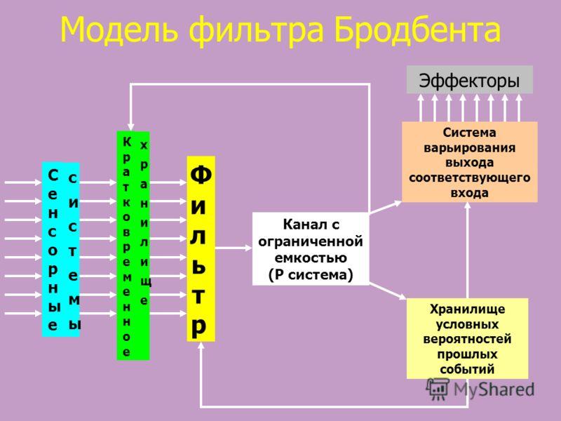 Модель фильтра Бродбента Сенсорные Сенсорные системысистемы Кратковременное Кратковременное хранилищехранилище ФильтрФильтр Канал с ограниченной емкостью (P система) Эффекторы Система варьирования выхода соответствующего входа Хранилище условных веро