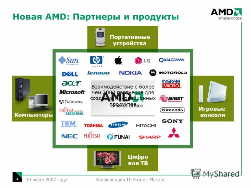Конференция IT-Бизнес-Металл 4 19 июня 2007 года Компьютеры Цифро вое ТВ Игровые консоли Портативные устройства Новая AMD: Партнеры и продукты Взаимодействие с более чем 2000 партнеров для создания инновационных продуктов