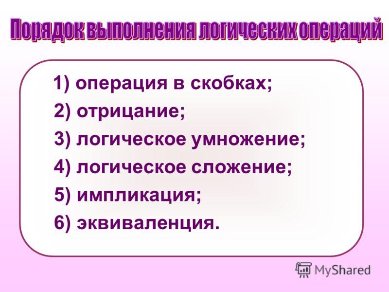 1) операция в скобках; 2) отрицание; 3) логическое умножение; 4) логическое сложение; 5) импликация; 6) эквиваленция.