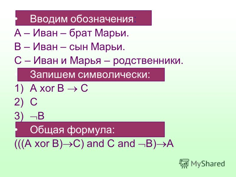 Вводим обозначения: А – Иван – брат Марьи. В – Иван – сын Марьи. С – Иван и Марья – родственники. Запишем символически: 1)А xor В С 2)С 3) В Общая формула: (((А xor B) C) and C and B) A