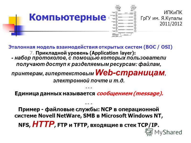 ИПКиПК ГрГУ им. Я.Купалы 2011/2012 Компьютерные сети 7. Прикладной уровень (Application layer): Эталонная модель взаимодействия открытых систем (ВОС / OSI) - набор протоколов, с помощью которых пользователи получают доступ к разделяемым ресурсам: фай