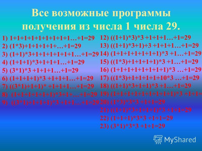 ЧислоКак можно получить? Количество программ 11 2+11 3+1 *31 + 1 = 2 4+12 5 2 6+1 *32 + 1 = 3 7+13 8 3 9+1 *33 + 2 = 5 10+15 11+15 12+1 *35 + 2 = 7 13+17 14+17 15+1 *37 + 2 = 9 16+19 17+19 18+1 *39 + 3 = 12 19+112 20+112 ЧислоКак можно получить? Коли