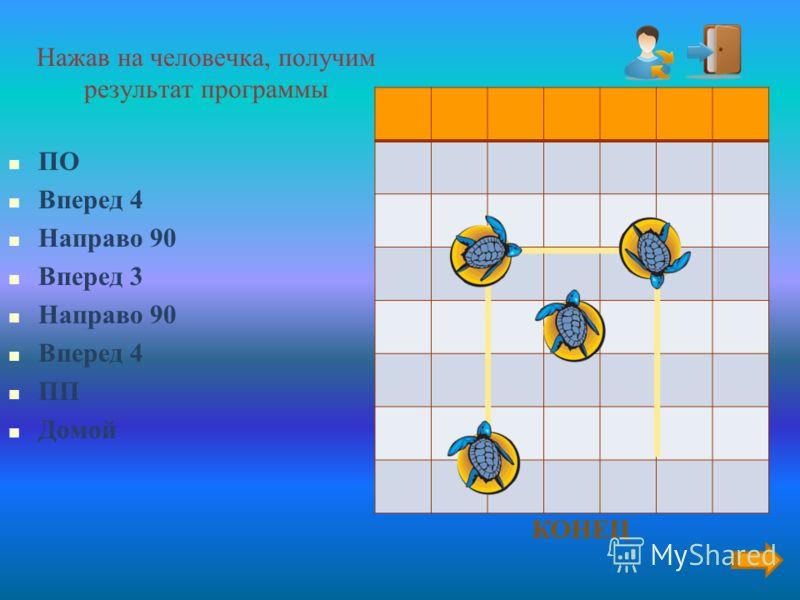 Аннотация На слайде 7 предлагается поэтапное построение результата программы на языке ЛогоМиры исполнителем Черепашка. Каждый щелчок по значку «Человечек» выполняет одну команду, исключение ПП (перо поднять) и ПО (перо опустить). Значок выхода закрыв