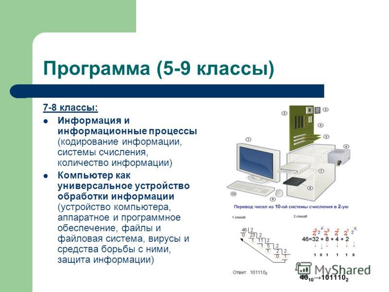 Программа (5-9 классы) 7-8 классы: Информация и информационные процессы (кодирование информации, системы счисления, количество информации) Компьютер как универсальное устройство обработки информации (устройство компьютера, аппаратное и программное об