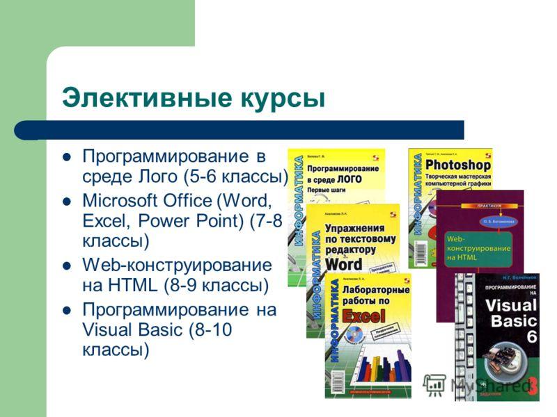 Элективные курсы Программирование в среде Лого (5-6 классы) Microsoft Office (Word, Excel, Power Point) (7-8 классы) Web-конструирование на HTML (8-9 классы) Программирование на Visual Basic (8-10 классы)
