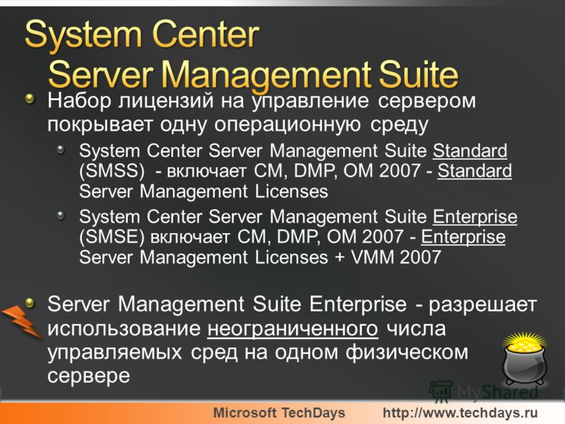 Microsoft TechDayshttp://www.techdays.ru Набор лицензий на управление сервером покрывает одну операционную среду System Center Server Management Suite Standard (SMSS) - включает CM, DMP, OM 2007 - Standard Server Management Licenses System Center Ser