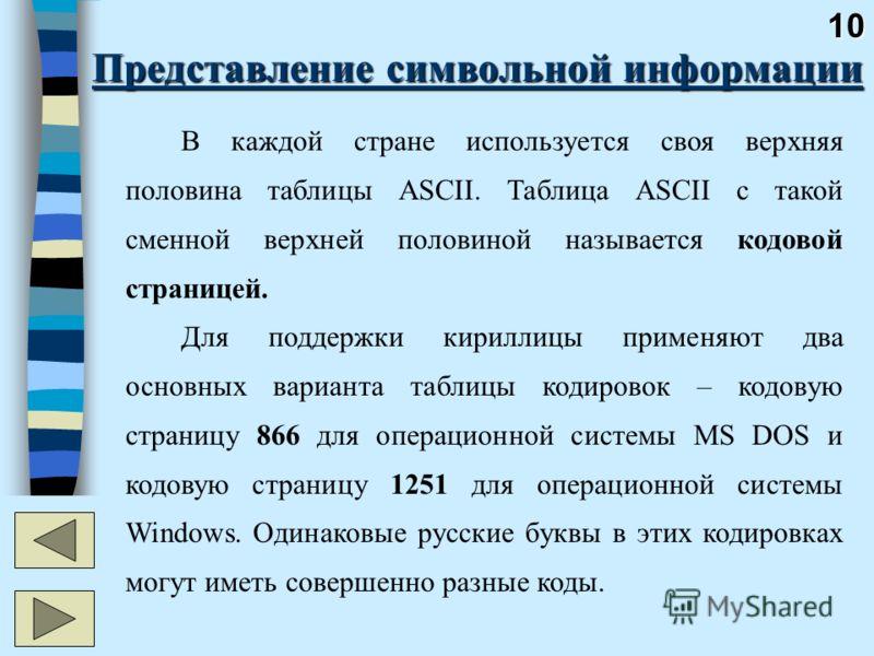10 Представление символьной информации В каждой стране используется своя верхняя половина таблицы ASCII. Таблица ASCII с такой сменной верхней половиной называется кодовой страницей. Для поддержки кириллицы применяют два основных варианта таблицы код