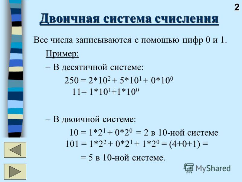 2 Двоичная система счисления Все числа записываются с помощью цифр 0 и 1. Пример: –В десятичной системе: 250 = 2*10 2 + 5*10 1 + 0*10 0 11= 1*10 1 +1*10 0 –В двоичной системе: 10 = 1*2 1 + 0*2 0 = 2 в 10-ной системе 101 = 1*2 2 + 0*2 1 + 1*2 0 = (4+0