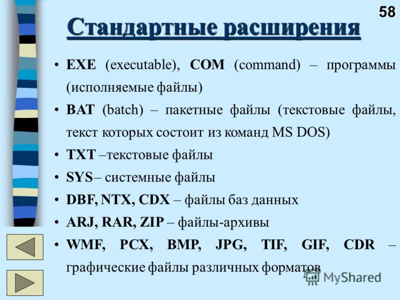 58 Стандартные расширения EXE (executable), COM (command) – программы (исполняемые файлы) BAT (batch) – пакетные файлы (текстовые файлы, текст которых состоит из команд MS DOS) TXT –текстовые файлы SYS– системные файлы DBF, NTX, CDX – файлы баз данны