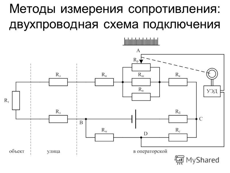 Методы измерения сопротивления: двухпроводная схема подключения