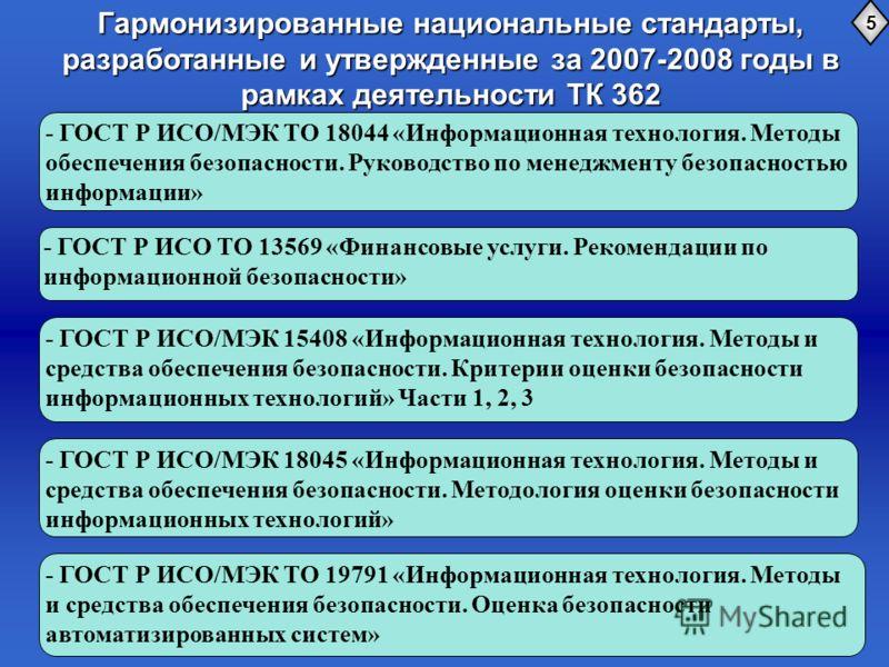 Гармонизированные национальные стандарты, разработанные и утвержденные за 2007-2008 годы в рамках деятельности ТК 362 5 - ГОСТ Р ИСО/МЭК ТО 18044 «Информационная технология. Методы обеспечения безопасности. Руководство по менеджменту безопасностью ин