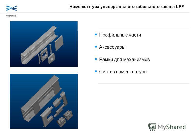 Профильные части Аксессуары Рамки для механизмов Синтез номенклатуры Номенклатура универсального кабельного канала LFF