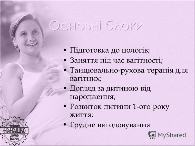 Підготовка до пологів; Заняття під час вагітності; Танцювально-рухова терапія для вагітних; Догляд за дитиною від народження; Розвиток дитини 1-ого року життя; Грудне вигодовування