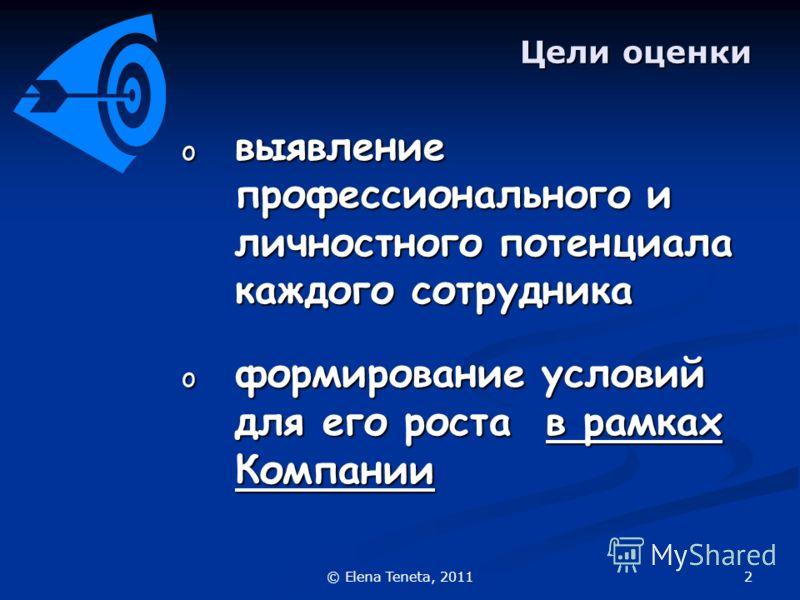 2© Elena Teneta, 2011 Цели оценки o выявление профессионального и личностного потенциала каждого сотрудника o формирование условий для его роста в рамках Компании