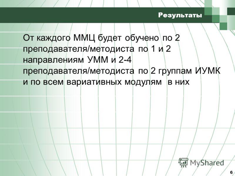 6 Результаты От каждого ММЦ будет обучено по 2 преподавателя/методиста по 1 и 2 направлениям УММ и 2-4 преподавателя/методиста по 2 группам ИУМК и по всем вариативных модулям в них