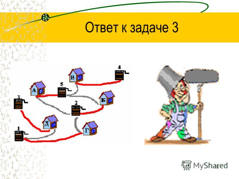 9 Решение задачи 3 Изобразим с помощью схемы условие. Сделаем анализ. Пронумеруем все ходы решения.