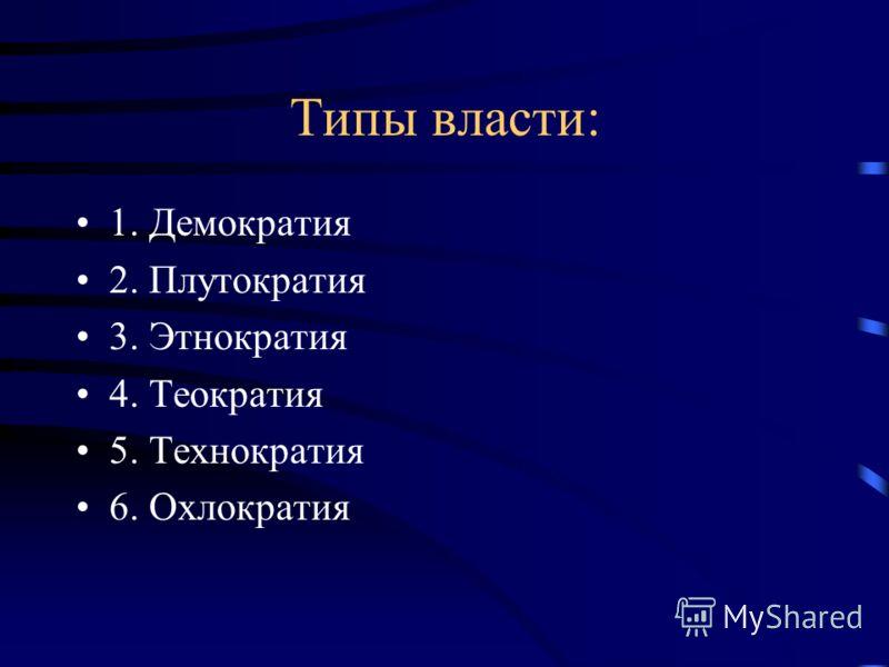 Типы власти: 1. Демократия 2. Плутократия 3. Этнократия 4. Теократия 5. Технократия 6. Охлократия