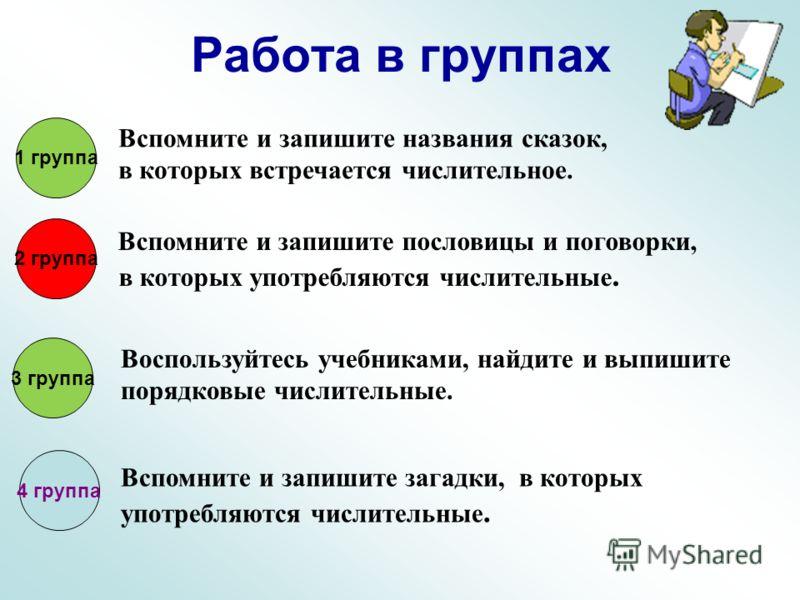 Работа в группах 1 группа 2 группа 3 группа Вспомните и запишите названия сказок, в которых встречается числительное. Вспомните и запишите пословицы и поговорки, в которых употребляются числительные. Воспользуйтесь учебниками, найдите и выпишите поря