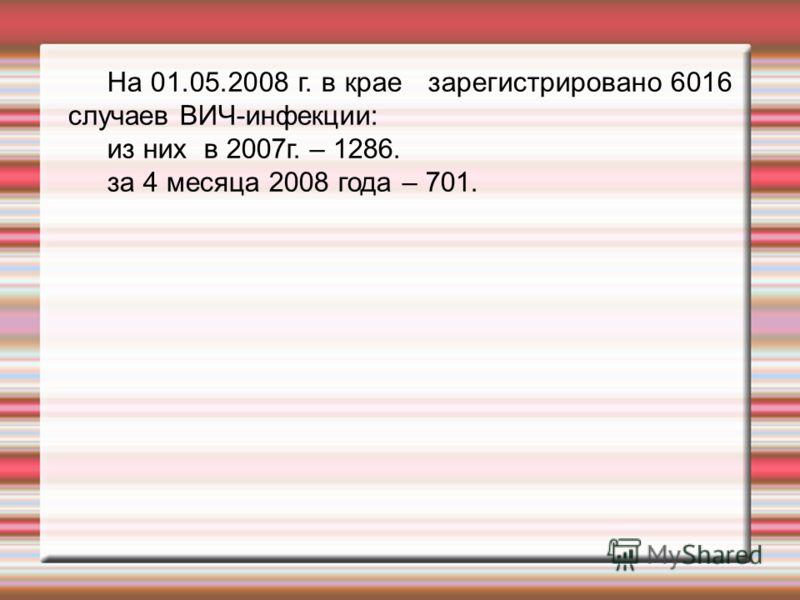 На 01.05.2008 г. в крае зарегистрировано 6016 случаев ВИЧ-инфекции: из них в 2007г. – 1286. за 4 месяца 2008 года – 701.