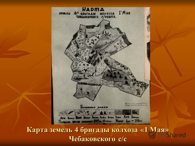Карта земель 4 бригады колхоза «1 Мая» Чебаковского с/с