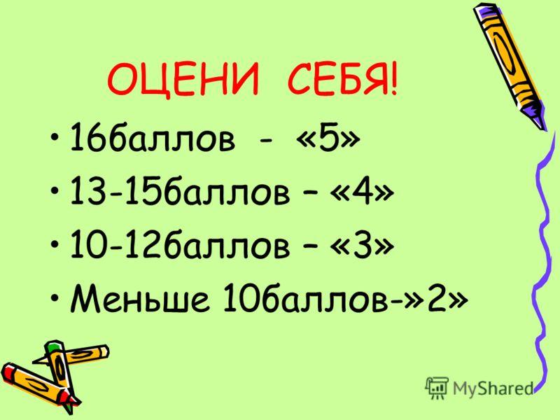ОЦЕНИ СЕБЯ! 16баллов - «5» 13-15баллов – «4» 10-12баллов – «3» Меньше 10баллов-»2»