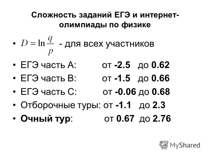 Сложность заданий ЕГЭ и интернет- олимпиады по физике - для всех участников ЕГЭ часть A: от -2.5 до 0.62 ЕГЭ часть B: от -1.5 до 0.66 ЕГЭ часть C: от -0.06 до 0.68 Отборочные туры: от -1.1 до 2.3 Очный тур: от 0.67 до 2.76