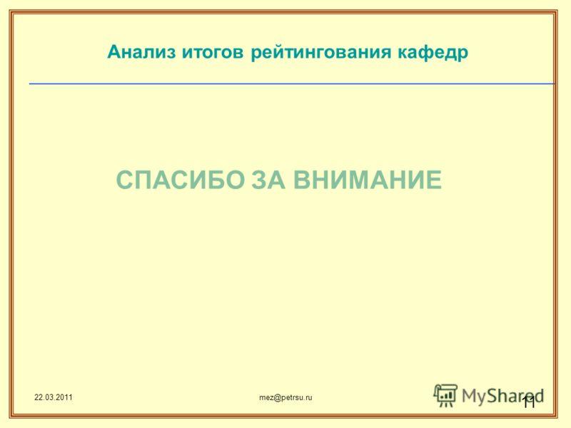 22.03.2011mez@petrsu.ru 11 СПАСИБО ЗА ВНИМАНИЕ Анализ итогов рейтингования кафедр