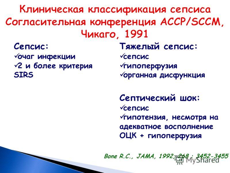 Сепсис: очаг инфекции 2 и более критерия SIRS Тяжелый сепсис: сепсис гипоперфузия органная дисфункция Септический шок: сепсис гипотензия, несмотря на адекватное восполнение ОЦК + гипоперфузия Вone R.C., JAMA, 1992; 268 : 3452-3455