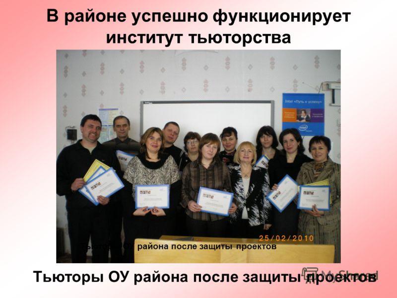 17 В районе успешно функционирует институт тьюторства Тьюторы ОУ района после защиты проектов