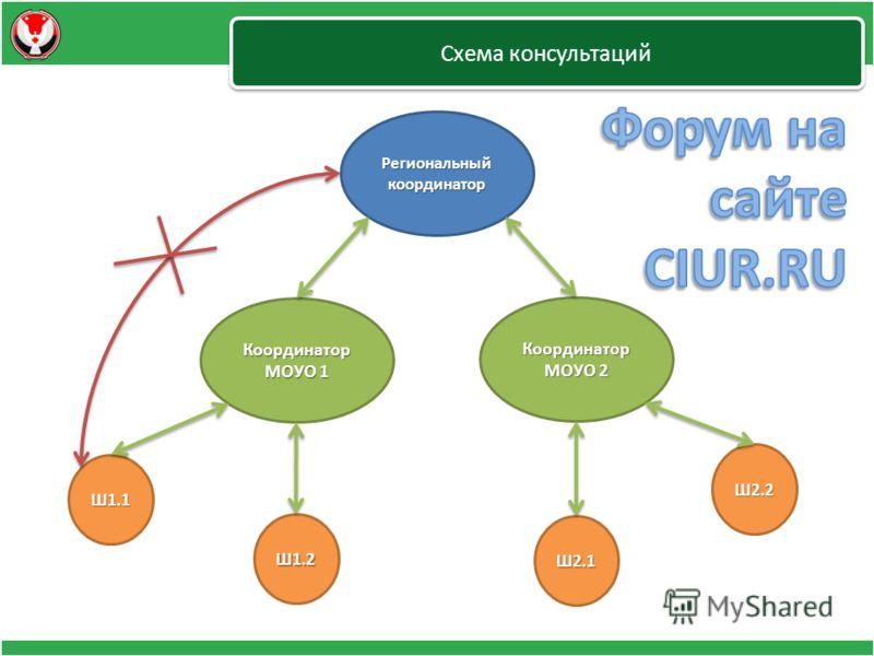 Схема консультаций Региональный координатор Координатор МОУО 2 Координатор МОУО 1 Ш1.1 Ш1.2 Ш2.1 Ш2.2