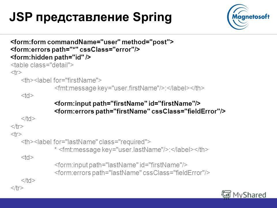 JSP представление Spring : * :
